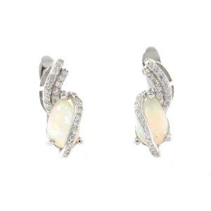 Cercei din argint cu opal