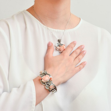 Set din argint cu coral roz - CS2217