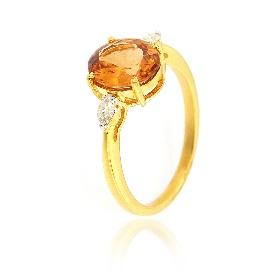 Inel din aur galben cu topaz imperial și diamante naturale - AI320